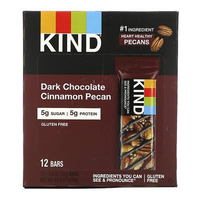 Купить KIND Bars Орехи со специями, с темным шоколадом, корицей и пеканом, 12 батончиков, 1.4 унций (40 г)