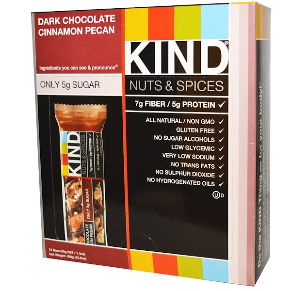 KIND Bars, Nueces y Especias, Chocolate Oscuro con Canela y Pacanas, 12 Barras, 1.4 oz (40 g) c/u