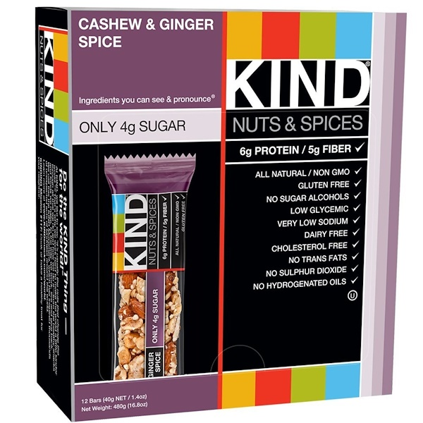 KIND Bars, Nuts & Spices, Cashew & Ginger Spice, 12 Bars 1.4 oz (40 g) Each (Discontinued Item)