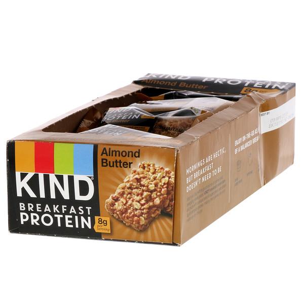 KIND Bars, Breakfast Protein, Mantequilla de almendras, 8 Paquetes de 2 barras, 1.76 oz (50 g) cada uno