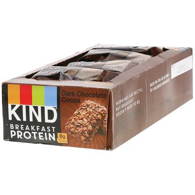 Купить KIND Bars Протеин для завтрака, темный шоколад, какао, 8 упаковок по 2 батончика, по 1, 76 унции (50 г) каждый
