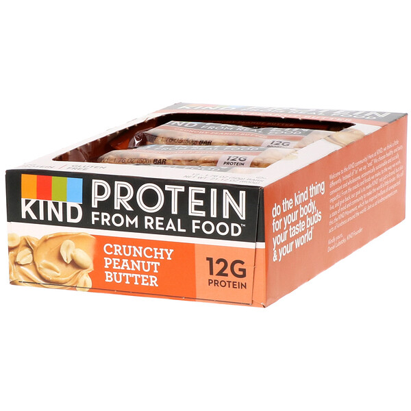 Protein Bars, Crunchy Peanut Butter, 12 Bars, 1.76 oz (50 g) Each