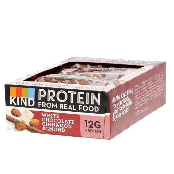 Barrinhas Proteicas, Chocolate Branco, Canela e Amêndoas, 12 Barrinhas, 1,76 oz (50 g) Cada