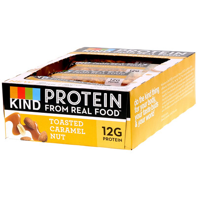 Купить KIND Bars Протеиновые батончики, Жареная карамель и орех, 12 баточников, 1, 76 унц. (50 г) каждый