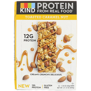 KIND Bars, Protein Bars, Toasted Caramel Nut, 12 Bars, 1.76 oz (50 g) Each