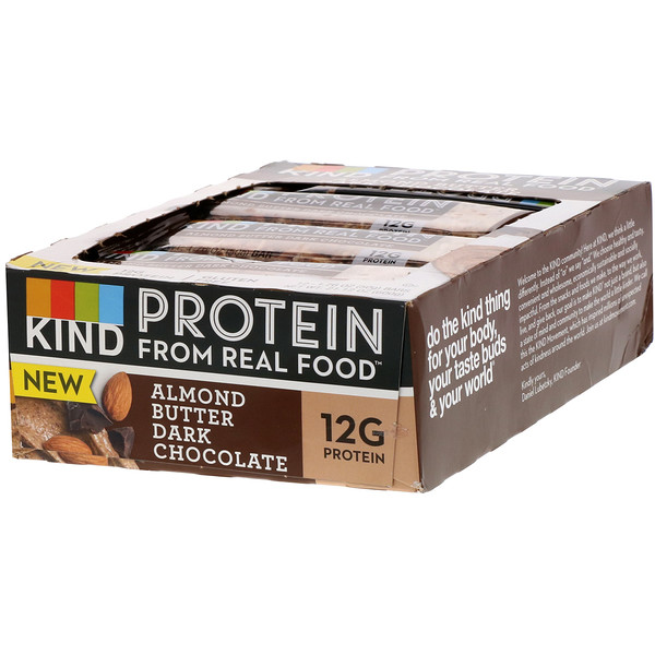 KIND Bars, Protein, Almond Butter Dark Chocolate, 12 Bars, 1.76 oz (50 g) Each (Discontinued Item)