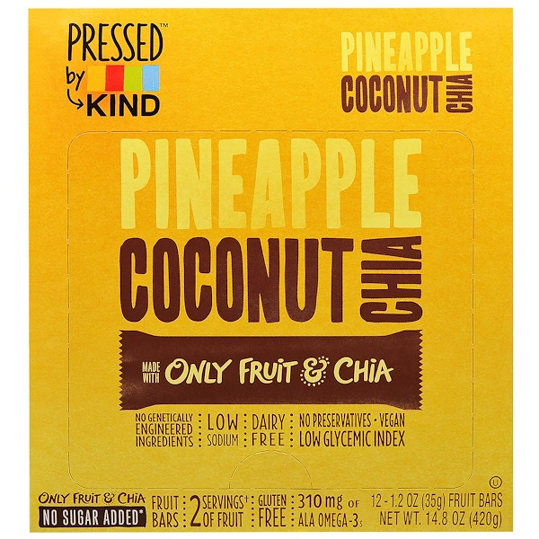 KIND Bars, Pressed by KIND, Pineapple, Coconut & Chia, 12 Fruit Bars - 1.2 oz (35 g) Each (Discontinued Item)