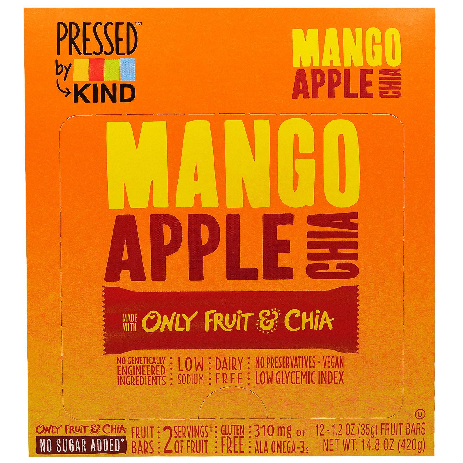 KIND Bars, Pressed by KIND, манго, яблоко и чиа, 12 фруктовых батончиков - 1,2 унции (35 г)