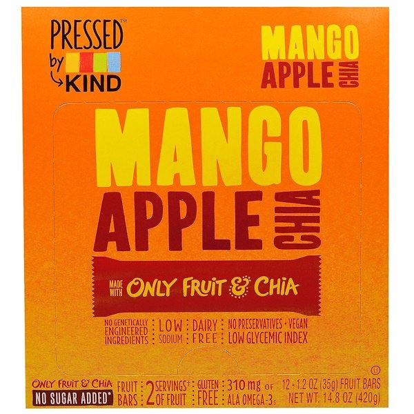 KIND Bars, Pressed by KIND, Mango, Apple & Chia, 12 Fruit Bars - 1.2 oz (35 g) (Discontinued Item)