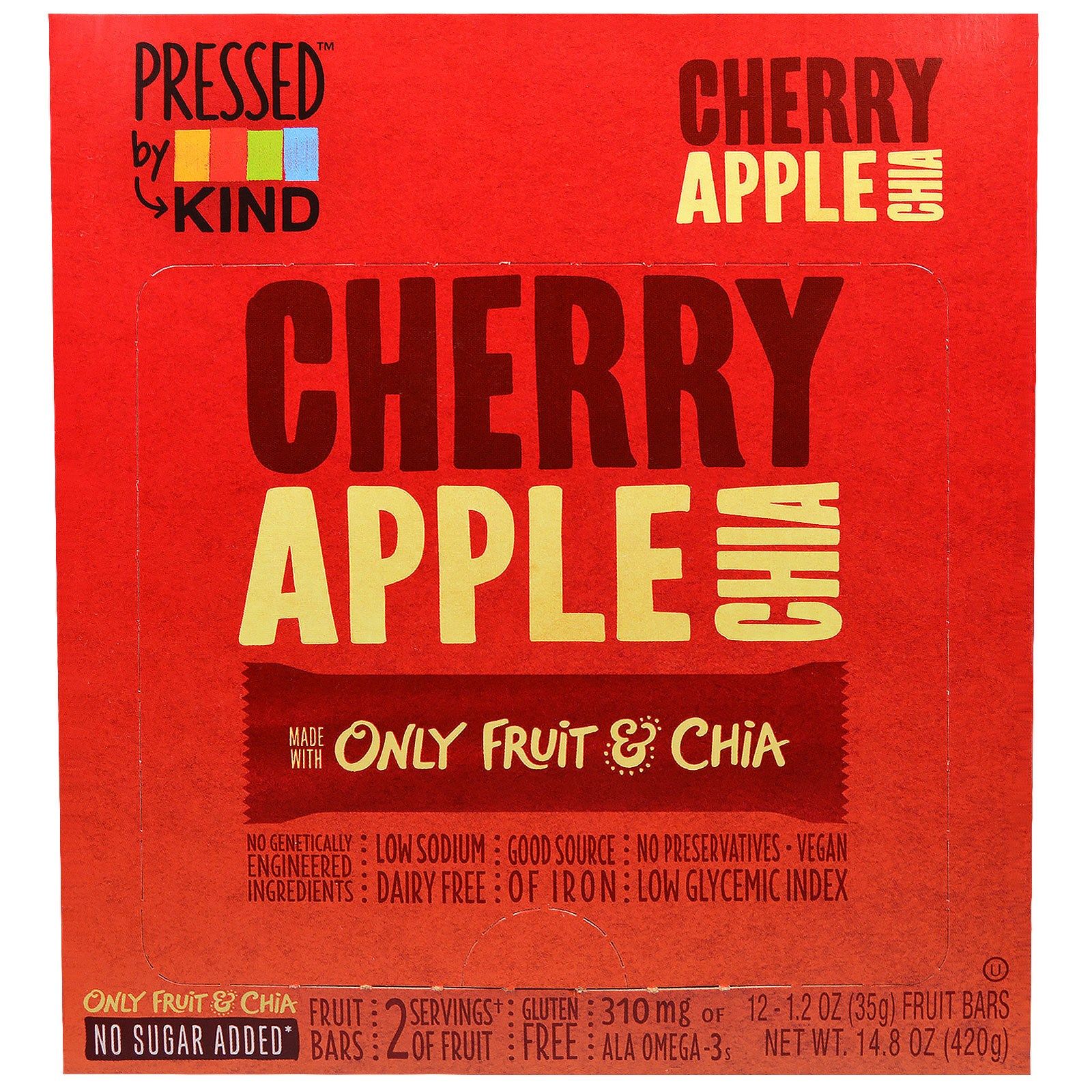 KIND Bars, Pressed by KIND, Cherry Apple Chia Fruit Bars, 12-1.2 oz (35 g)
