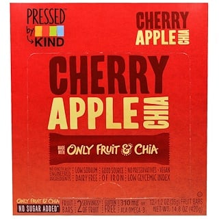 KIND Bars, Pressed by KIND, Cherry Apple Chia, 12 Fruit Bars, 1.2 oz (35 g) Each