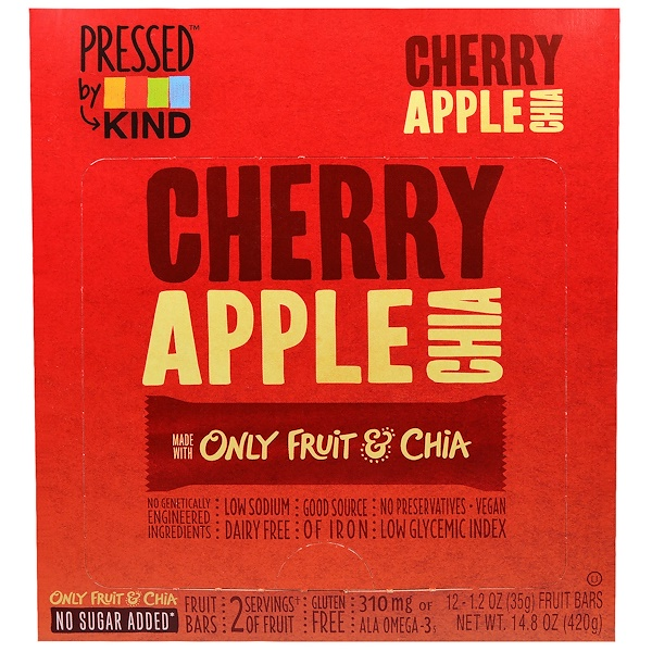 KIND Bars, Pressed by KIND, Cherry Apple Chia, 12 Fruit Bars, 1.2 oz (35 g) Each (Discontinued Item)