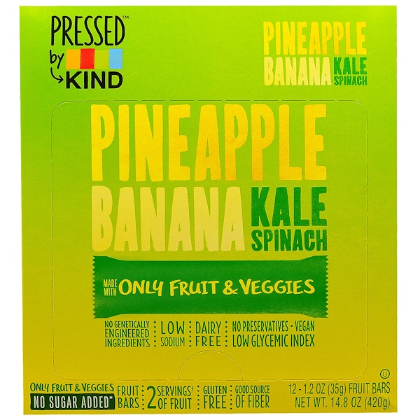 KIND Bars, Pressed by KIND, Pineapple, Banana, Kale & Spinach, 12 Fruit Bars - 1.2 oz (35 g) Each (Discontinued Item)