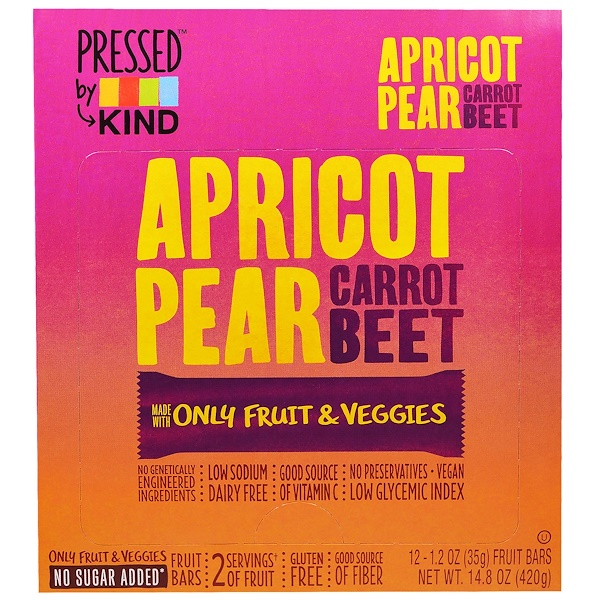 KIND Bars, Pressed by KIND, Apricot, Pear, Carrot & Beet, 12 Fruit Bars - 1.2 oz (35 g) Each (Discontinued Item)