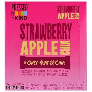 KIND Bars, Pressed by KIND, Strawberry Apple Chia , 12 Fruit Bars, 1.2 oz (35 g) Each