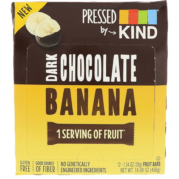 Pressed by KIND, Dark Chocolate Banana, 12 Fruit Bars, 1.35 oz (38 g) Each