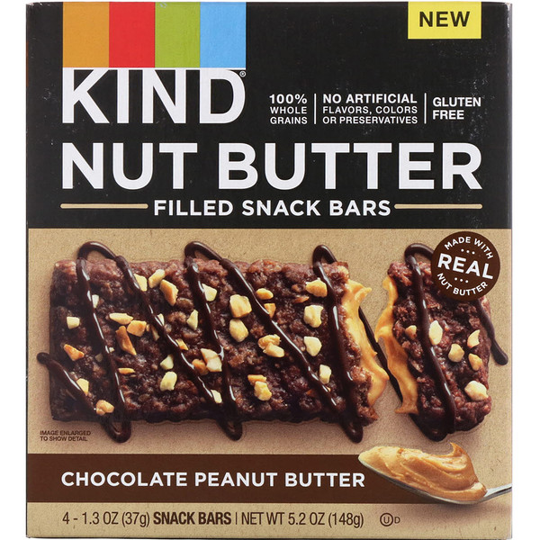 Nut Butter Filled Snack Bars, Chocolate Peanut Butter, 4 Bars, 1.3 oz (37 g) Each