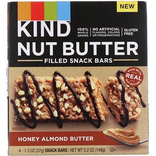 KIND Bars, Nut Butter Filled Snack Bars, Honey Almond Butter, 4 Bars, 1.3 oz (37 g) Each