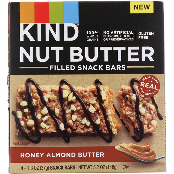 KIND Bars, Nut Butter Filled Snack Bars, Honey Almond Butter, 4 Bars, 1.3 oz (37 g) Each (Discontinued Item)