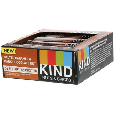 Купить KIND Bars Nuts & Spices, Salted Caramel & Dark Chocolate Nut, 12 Bars, 1.4 oz (40 g) Each