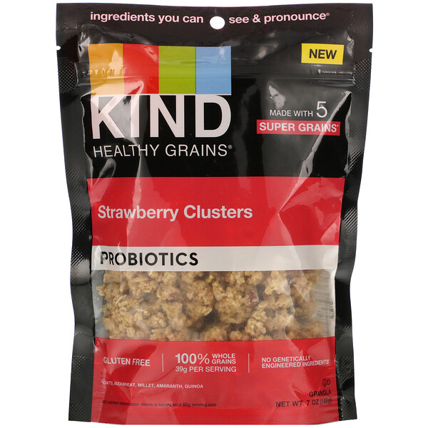 Healthy Grains, Probiotics, Strawberry Clusters, 7 oz (198 g)