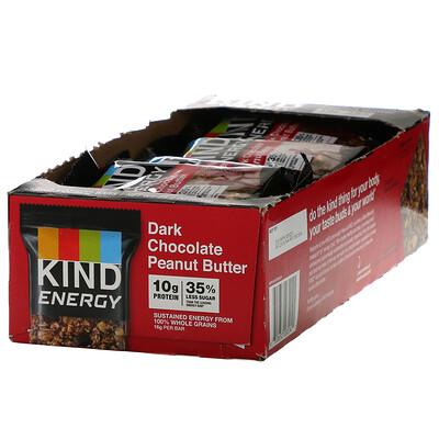 KIND Bars Energy, Dark Chocolate Peanut Butter , 12 Bars, 2.1 oz (60 g) Each