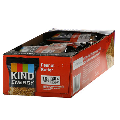 Купить KIND Bars Energy, Peanut Butter, 12 Bars, 2.1 oz (60 g) Each
