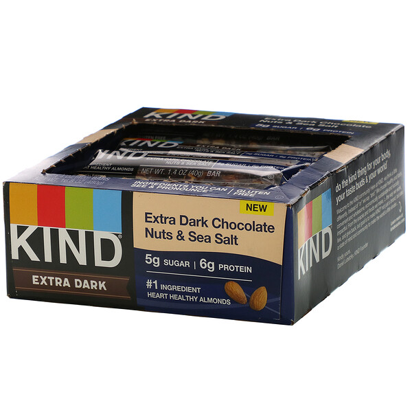 Extra Dark Chocolate, Nuts & Sea Salt, 12 Bars, 1.4 oz (40 g) Each