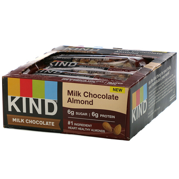 Milk Chocolate,  Almond, 12 Bars, 1.4 oz (40 g) Each