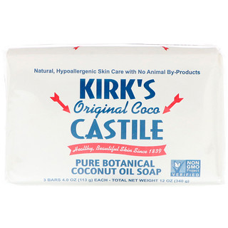 Kirk's, 오리지날 코코 카스티야 바 비누, 3개입, 각 4 oz (113 g)
