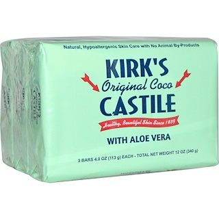 Kirk's, Original Coco Castile Bar Soap, with Aloe Vera, 3 Bars, 4 oz (113 g) Each
