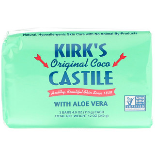 Kirk's, Оригинальное кастильское кокосовое мыло с алоэ вера, 3 штуки, каждое по 113 г (4 унции)