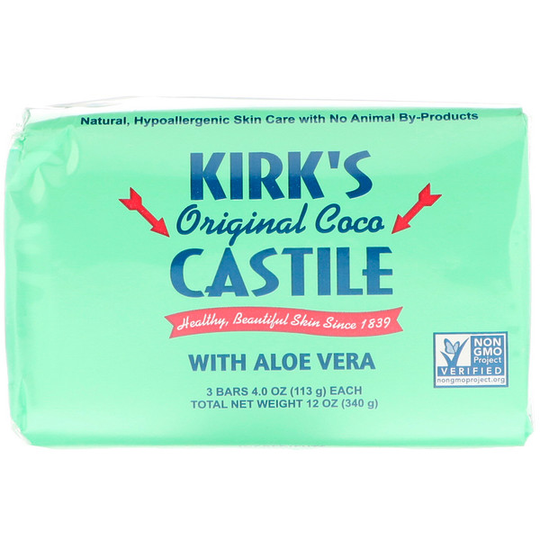 Kirk's, Original Coco Castile Bar Soap, with Aloe Vera, 3 Bars, 4 oz (113 g) Each