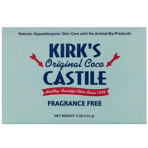 Kirk's, Original Coco Castile Bar Soap, Fragrance Free, 4 oz (113 g)