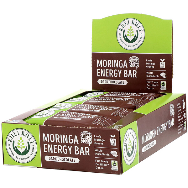 Kuli Kuli, Moringa Energy Bar, Dark Chocolate, 12 Bars, 1.6 oz (45 g) Each
