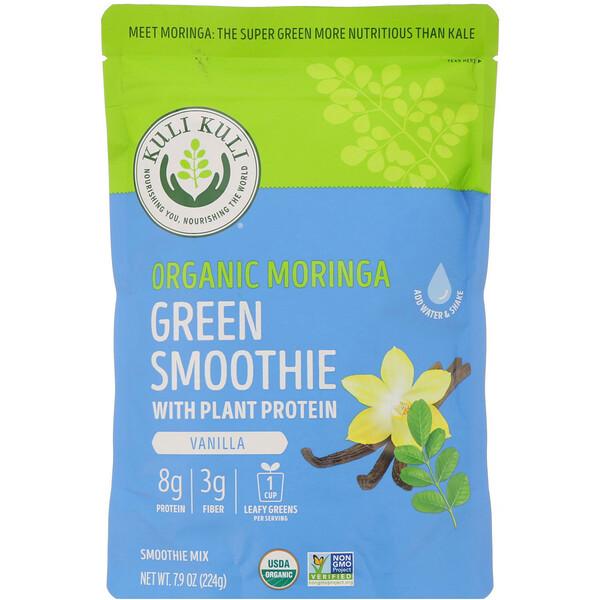 Organic Moringa Green Smoothie With Plant Protein, Vanilla, 7.9 oz (224 g)