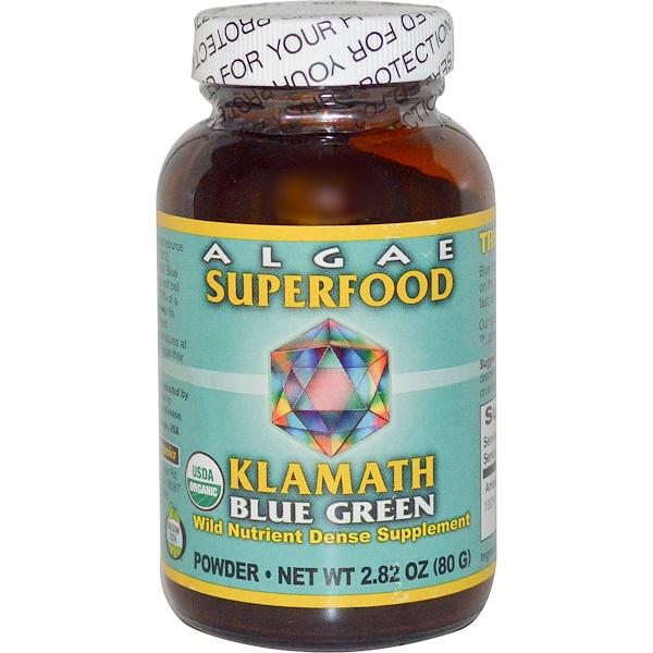 Klamath, パワーオーガニクス、藻類スーパーフード・クラマスブルーグリーン、2.8 oz (80 g) (Discontinued Item)