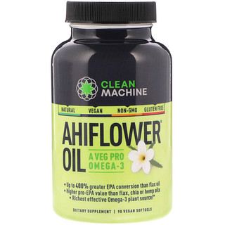 CLEAN MACHINE, Ahiflower Oil, 90 Vegan Softgels