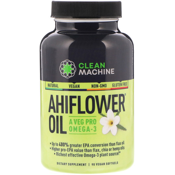 CLEAN MACHINE, Ahiflower Oil, 90 Vegan Softgels (Discontinued Item)