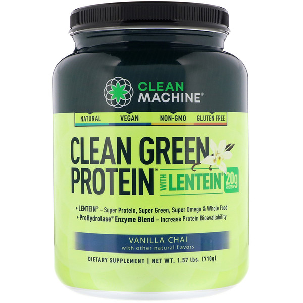CLEAN MACHINE, Clean Green Protein with Lentein, Vanilla Chai, 1.57 lbs (710 g)