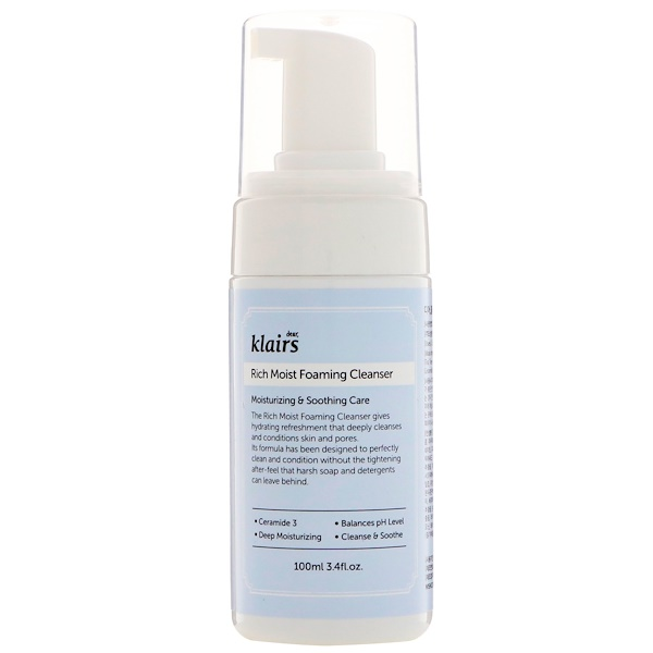 Dear, Klairs, Rich Moist Foaming Cleanser, 3.4 fl oz (100 ml)
