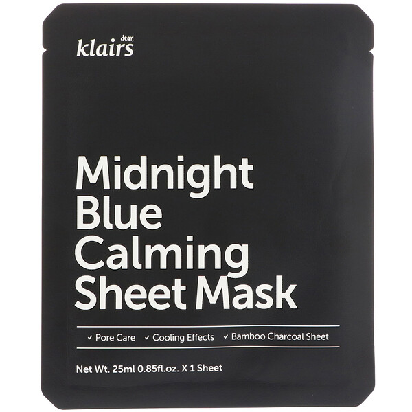 Dear, Klairs, Midnight Blue Calming Sheet Mask, 1 Sheet, 0.85 fl oz (25 ml)