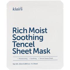 Dear, Klairs, Rich Moist Soothing Tencel Sheet Mask, 1 Mask, 0.85 fl oz (25 ml)