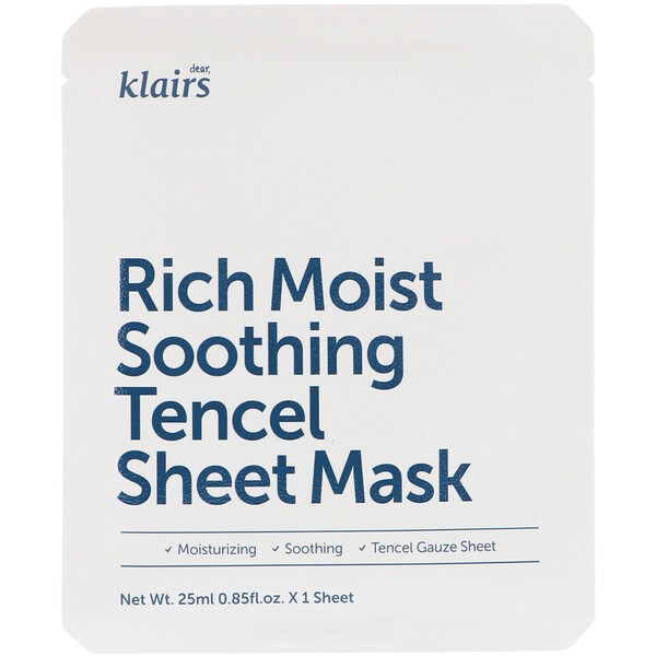 Dear, Klairs, Rich Moist Soothing Tencel Sheet Mask, 1 Sheet, 0.85 fl oz (25 ml)