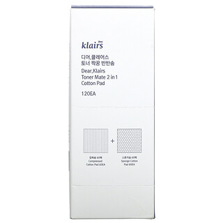 Dear, Klairs, 2 合 1 爽膚水吸收棉墊,60 片壓縮/60 片海綿棉墊
