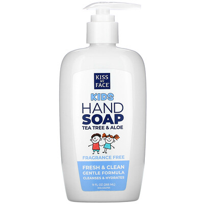 Kiss My Face Kids Hand Soap, Tea Tree & Aloe, Fragrance Free, 9 fl oz (266 ml)