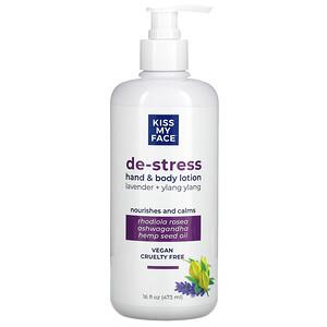 Kiss My Face, De-Stress Hand & Body Lotion, Lavender + Ylang Ylang, 16 fl oz (473 ml)