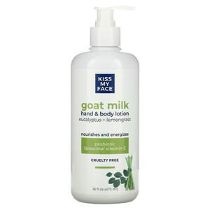 Kiss My Face, Goat Milk Hand & Body Lotion, Eucalyptus + Lemongrass, 16 fl oz (473 ml)