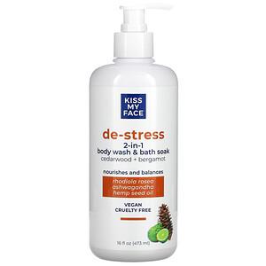 Kiss My Face, De-Stress, 2-In 1 Body Wash & Bath Soak, Cedarwood + Bergamot, 16 fl oz (473 ml)'