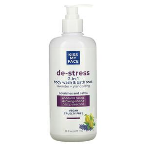 Kiss My Face, De-Stress 2-In-1 Body Wash & Bath Soak, Lavender + Ylang Ylang,  16 fl oz (473 ml)